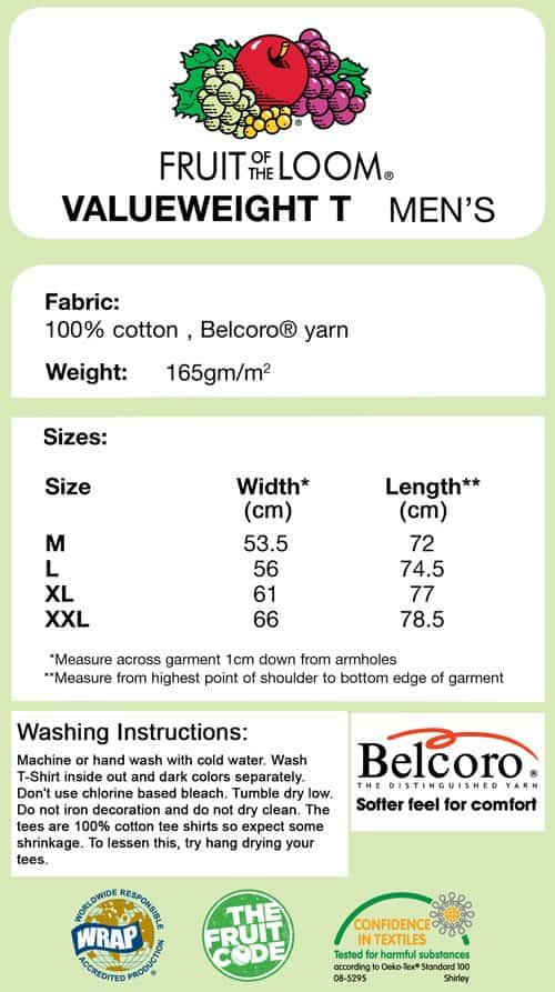 T-Shirt size guide and specifications