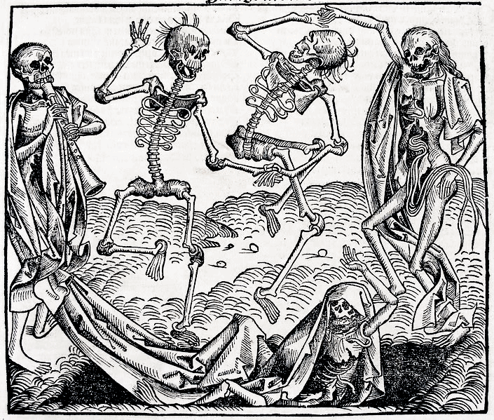 """Danse macabre by Michael Wolgemut"". Licensed under Public Domain via Wikimedia Commons"